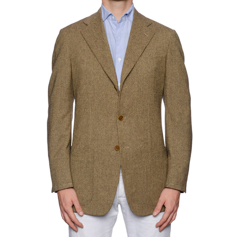CASTANGIA 1850 Olive-Beige Wool Donegal Tweed Unlined Jacket EU 50 NEW US 40