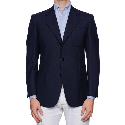 CASTANGIA 1850 Navy Blue Hopsack Wool Blazer Jacket EU 50 NEW US 40 41