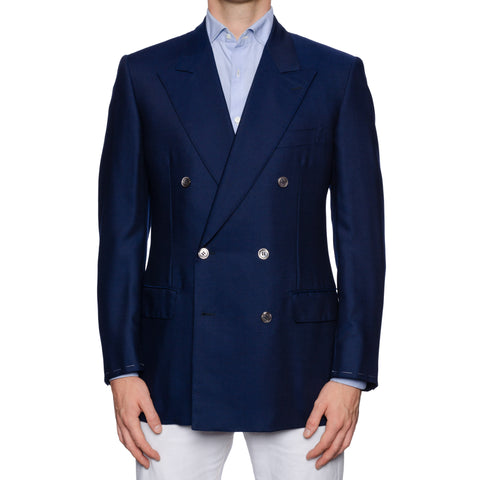 CASTANGIA 1850 Navy Blue Wool-Silk Double Breasted Jacket EU 50 NEW US 40