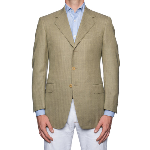 CASTANGIA 1850 Olive Herringbone Merino Wool Sport Coat Jacket EU 48 NEW US 38