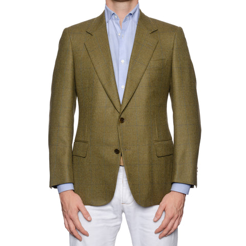 CASTANGIA 1850 Olive Herringbone Plaid Wool-Cashmere Jacket EU 46 NEW US 36