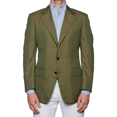 CASTANGIA 1850 Olive Prince of Wales Wool Super 100's Jacket EU 50 NEW US 40