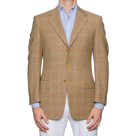 CASTANGIA 1850 Tan Houndstooth Plaid Wool Sport Coat Jacket EU 46 NEW US 36