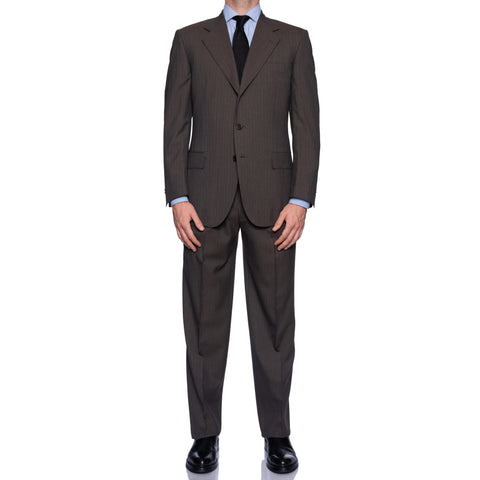 CASTANGIA 1850 Taupe Gray Striped Wool-Cotton Business Suit NEW