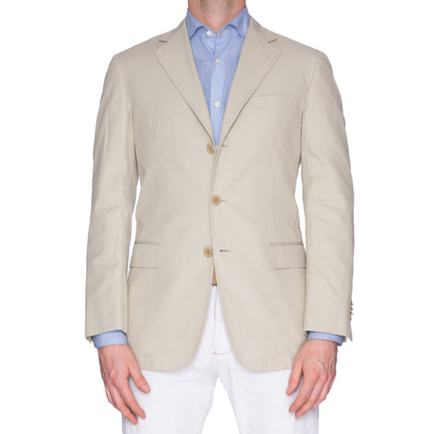 CASTANGIA LEISURE Beige Cotton Twill Unlined Jacket EU 50 NEW US 40
