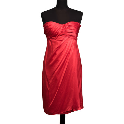 CELIA KRITHARIOTI 5226 Red Silk Strapless Dress IT 40 US 4 / S