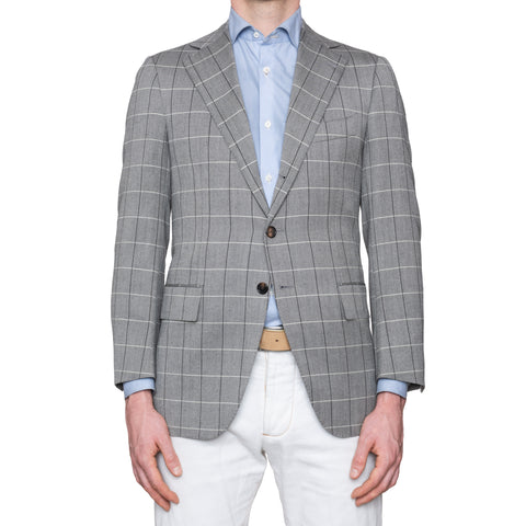 CESARE ATTOLINI Gray Herringbone Plaid Wool Super 120's Blazer Jacket 46 NEW 36
