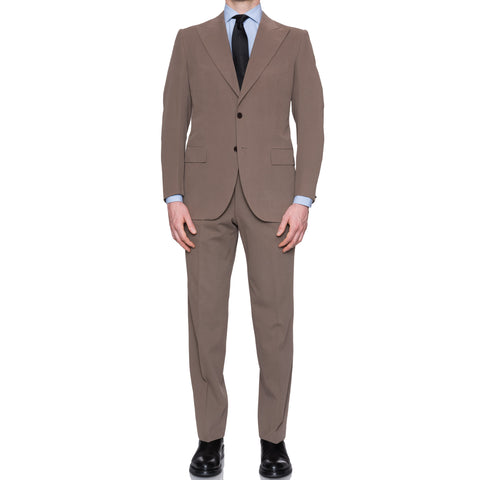 CESARE ATTOLINI Napoli Beige Cotton Peak Lapel Spring-Summer Suit 50 NEW US 40