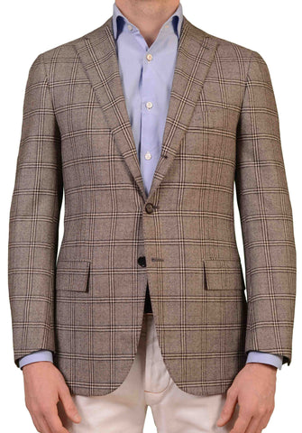 CESARE ATTOLINI Handmade Gray Windowpane Wool Blazer Jacket EU 48 NEW US 38
