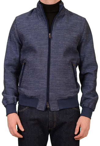 CESARE ATTOLINI Blue Cotton Linen Silk Wool Bomber Blouson Jacket EU 50 NEW US M