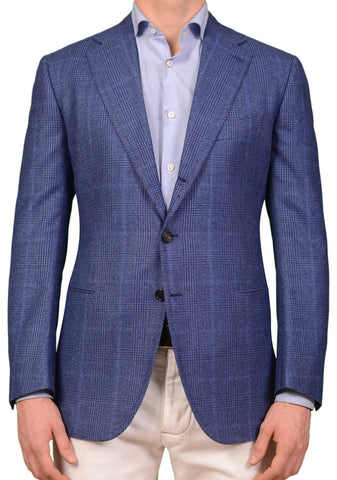 CESARE ATTOLINI Napoli Blue Prince of Wales Wool Flannel Blazer Jacket 50 NEW 40
