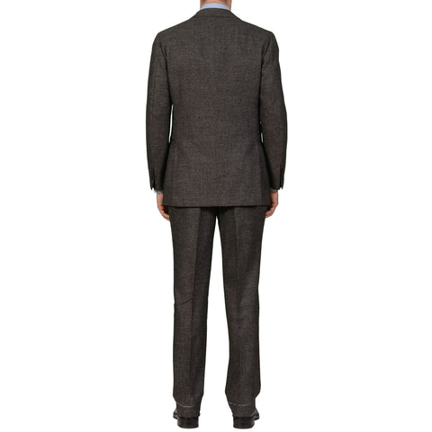 CESARE ATTOLINI Napoli Gray Birdseye Lambswool Cashmere Flannel Suit 52 NEW 42