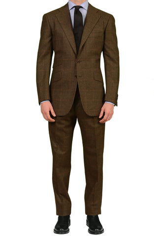 CESARE ATTOLINI Classic Olive Prince of Wales Wool-Cashmere Suit EU 50 NEW US 40