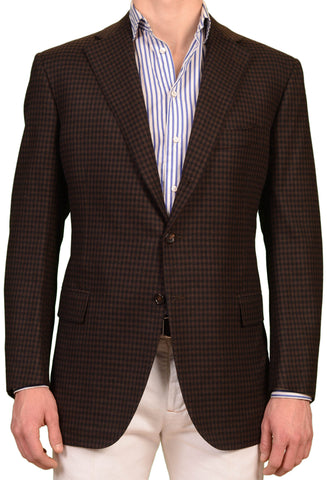 CESARE ATTOLINI Handmade Brown Plaid Wool Cashmere Blazer Jacket EU 56 NEW US 46