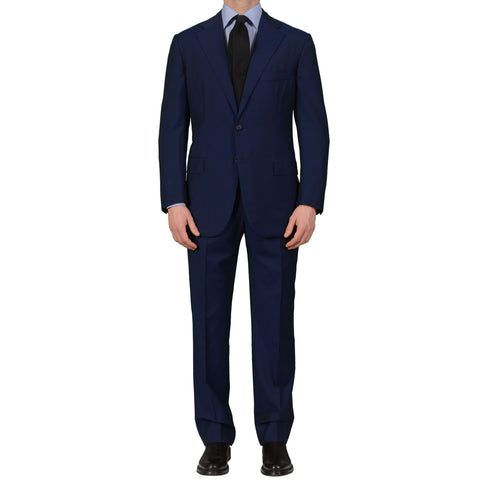 CESARE ATTOLINI Handmade Navy Blue Wool Super 110's Mohair Suit EU 51 NEW US 40