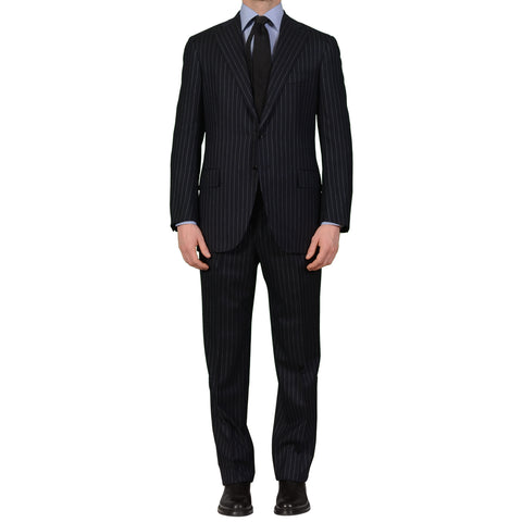 CESARE ATTOLINI Napoli Navy Blue Striped Wool Super 120's Flannel Suit 50 NEW 40