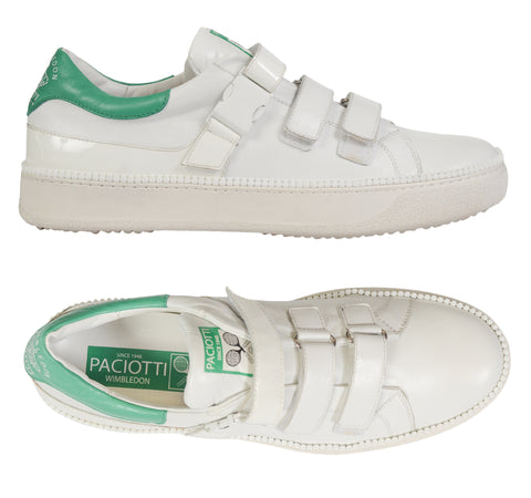 CESARE PACIOTTI Wimbledon White Nappa Leather Sneaker Shoes 8 US 9 NEW with Box