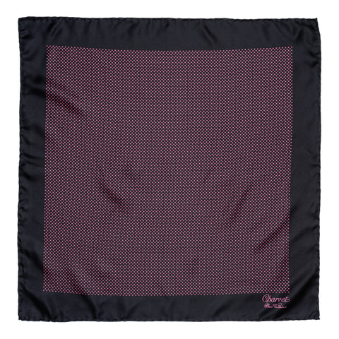 CHARVET Vendome Black Pink Dot Silk Pocket Square Pochette NEW 47cm x 47cm