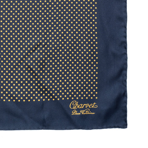 CHARVET Vendome Blue Yellow Dot Silk Pocket Square Pochette NEW 47cm x 47cm