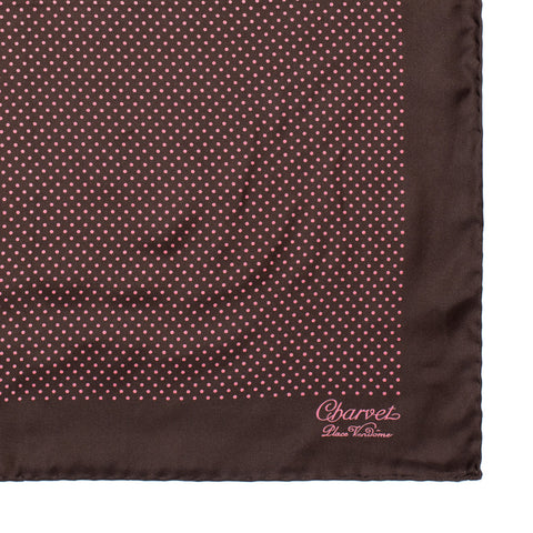CHARVET Vendome Brown Pink Dot Silk Pocket Square Pochette NEW 47cm x 47cm