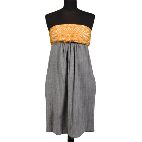 "CHLOE ""Musaraigne"" Gray Wool Blend Strapless Dress Size EU 38 US 6"
