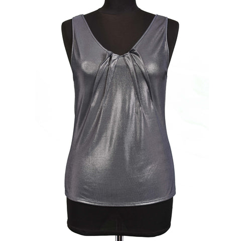 CHRISTIAN DIOR Boutique Paris Gray Metallic Top Size IT 42 US 6