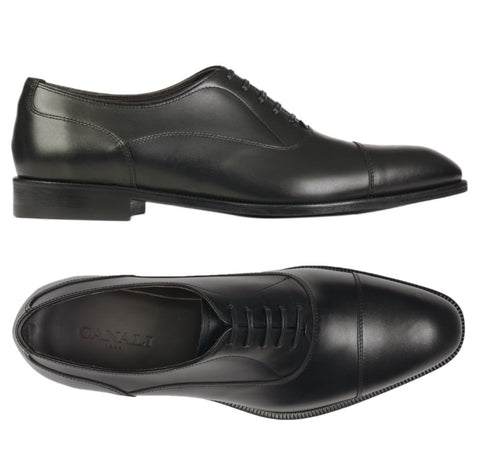 CANALI 1934 Black Calf Leather Balmoral Oxford Dress Shoes NEW with Box