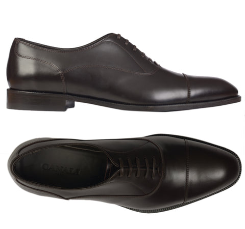 CANALI 1934 Dark Brown Calf Leather Balmoral Oxford Dress Shoes NEW with Box