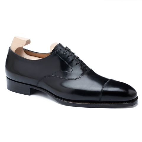 "PASSUS SHOES Handmade ""Winston"" Black Boxcalf Cap Toe Oxford Shoes NEW"