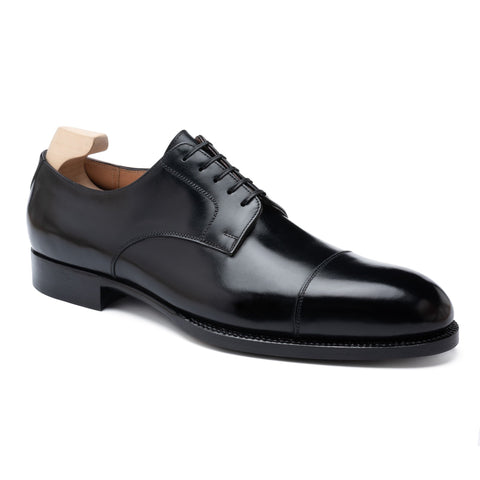 "PASSUS SHOES ""Dean"" Handmade Black Box Calf Cap Toe Derby Shoes US 10.5 NEW EU 43.5"