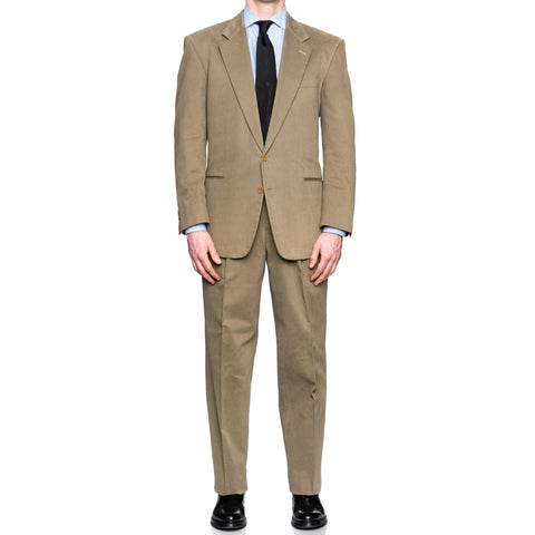 SARTORIA CASTANGIA Olive Twill Cotton Velvet Suit EU 50 NEW US 40