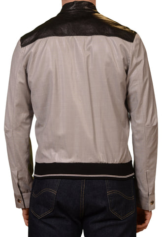 Collection PRIVEE? Gray Wool Leather Trims Blouson Jacket EU 48 NEW US 38