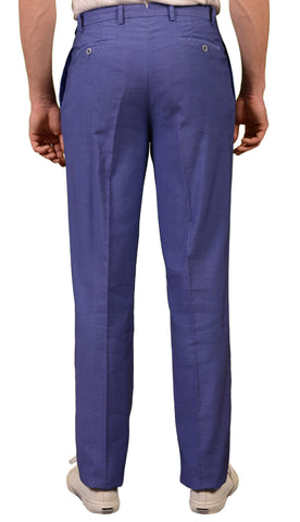 DENIS SELECCION Blue Cotton-Linen Single Pleated Pants EU 48 NEW US 32 Classic F