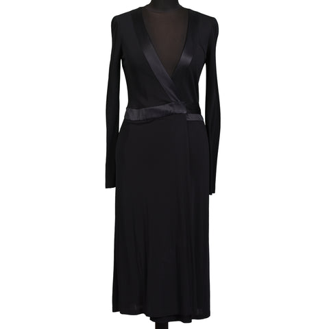 DIANE VON FURSTENBERG Black Long Sleeve Wrap Dress Gown NEW US 4