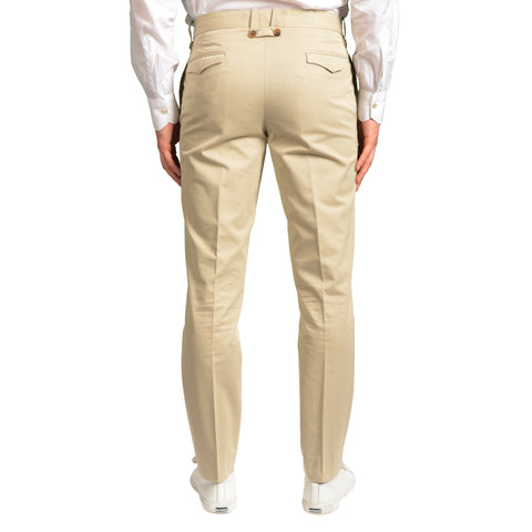 DIOR Beige Twill Cotton Slim Fit Flat Front Dress Pants EU 48 NEW US 32 8H
