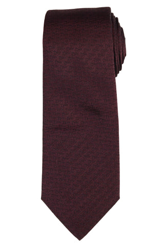 DIOR HOMME Burgundy Silk Satin Logo Tie NEW