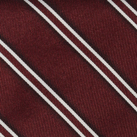 DIOR HOMME Burgundy Striped Silk Satin Regimental Tie NEW