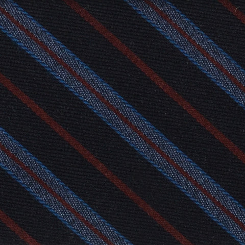 DIOR HOMME Navy Blue Striped Wool-Silk Skinny Regimental Tie NEW