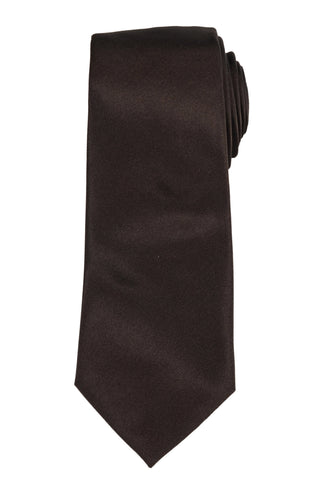 DIOR HOMME Solid Dark Brown Silk Satin Tie NEW