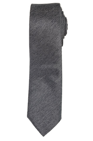 DIOR HOMME Solid Gray Silk Skinny Tie NEW