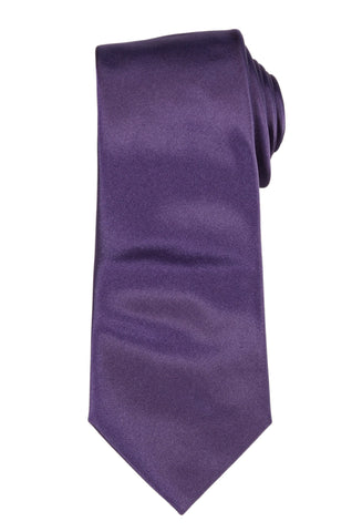 DIOR HOMME Solid Purple Silk Satin Tie NEW