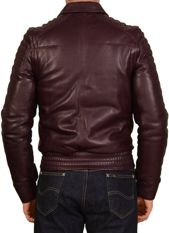 DIOR Homme Burgundy 2 In 1 Leather Padded Biker Jacket Vest Size 46 US XS 8H