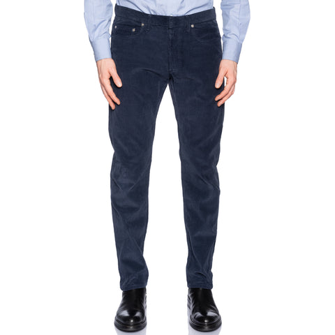 DIOR Homme Italy Navy Blue Corduroy Cotton Slim Fit Jeans Pants US 34 9H