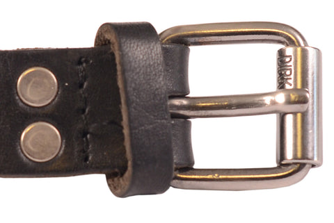 DIRK BIKKEMBERGS Black Leather Thin Long Belt with Tang Buckle Size 54/ 95cm/38""