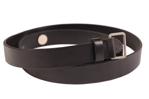 DIRK SCHÖNBERGER Black Calfskin Leather Thin Belt 46 NEW 80cm / 32""