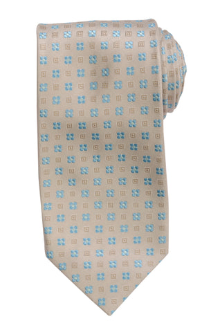 DOLCEPUNTA Italy Hand Made Beige Floral Silk Tie Seven Fold NEW