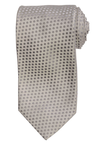 DOLCEPUNTA Italy Hand Made Silver Polka Dot Silk Tie Seven Fold NEW