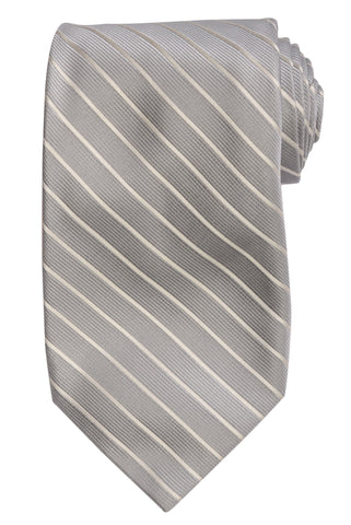 DOLCEPUNTA Italy Hand Made Gray Striped Silk Tie Seven Fold NEW