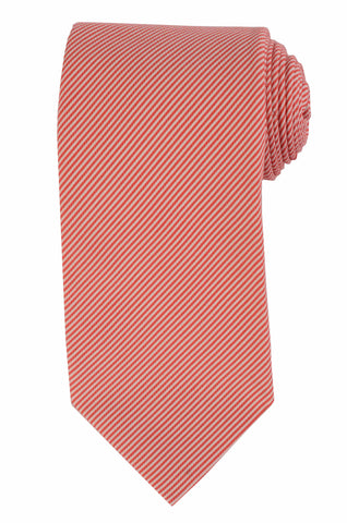 DOLCEPUNTA Italy Hand Made Red White Striped Silk Seven Fold Tie NEW