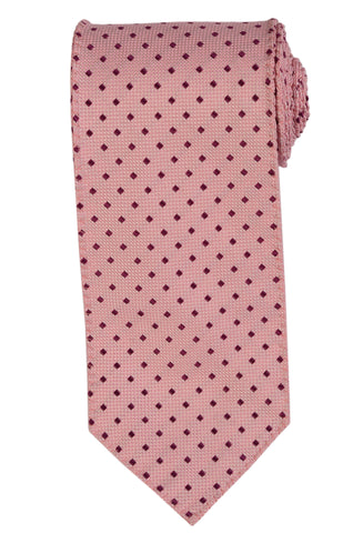 DOLCEPUNTA Italy Hand-Stitched Pink Square Pattern Silk Tie NEW - SARTORIALE - 1